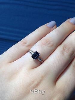 Vintage Sapphire And Diamond Palladium Ring, Emerald Cut