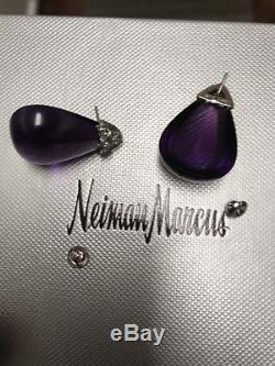 Vintage Seaman Schepps Diamond & Amethyst platinum Earrings approx 70 carats