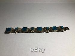 Vintage Sterling Silver HECHO mexico Turquoise Bracelet Hallmarked Taxco 925