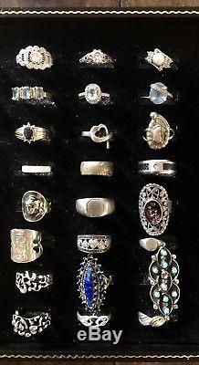 Vintage Sterling Silver Ring Lot Turquoise Diamond Ruby Amber & More 409.17 Gram