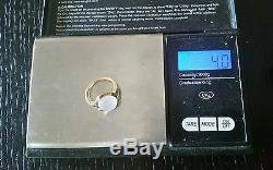 Vintage Tiffany & Co 14k Yellow Gold Moonstone & Sapphire Ring Estate Jewelry