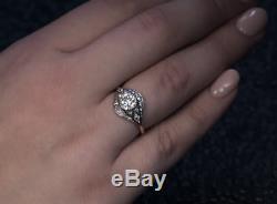 Vintage Victorian Edwardian 1.20 Ct Diamond Engagement Bezel Ring Circa 1910's