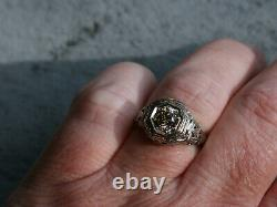 Vintage Victorian Edwardian 1837s Ring 14K White Gold Over 2Ct Round Cut Diamond