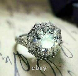 Vintage Victorian Engagement Filigree Ring 14K White Gold Over 2 Ct Diamond Ring