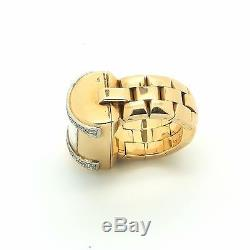 Vintage Walser Wald Watch Ring in 18k Rose Gold and Diamonds. Adjustable size