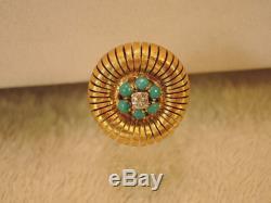 Vintage estate diamond 18k Persian turquoise ring size 5 3/4