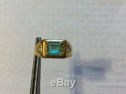 Vintage men fancy gift14k gold diamond Colombian emerald ringSize10Free Ship