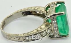 WOW $45000 Antique Art-Deco 7ct Emerald&Diamonds Tiffany&Co white gold ring 1930